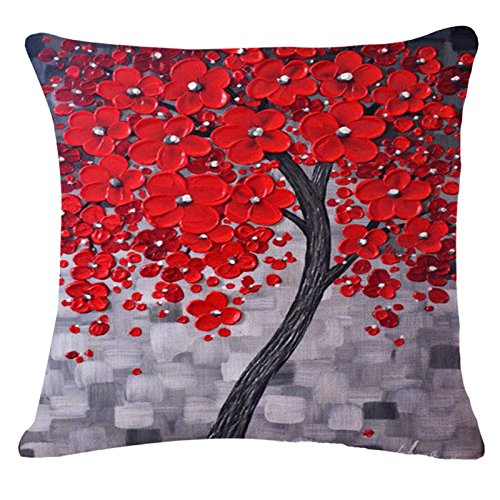Oil Painting Black Large Tree and Flower Birds Cotton Linen Throw Pillow Case Cushion Cover Home Sofa Decorative 18 X 18 Inch (red flower)