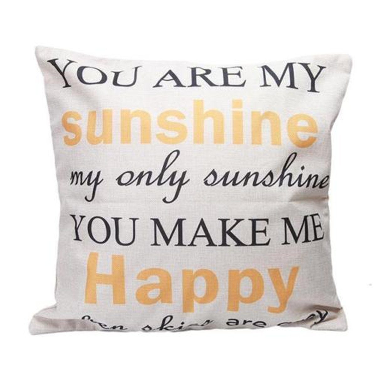 OrliverHL You Are My Sunshine Cotton Linen Pillow Cover Square Case Home Sofa Throw Decor Cushion Cover