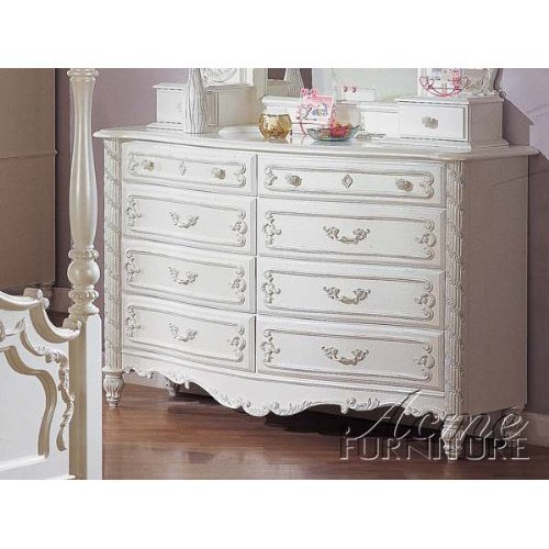 Pearl White Princess Girls Child 8 Drawer Dresser