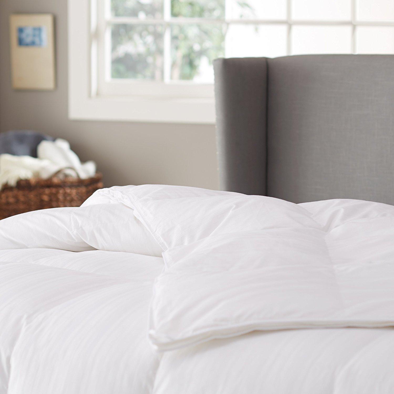 Pinzon Hypoallergenic White Duck Down Comforter - Medium Warmth, Twin