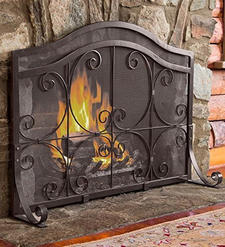 Plow & Hearth Crest Large Flatguard Fireplace Screen Wrought Iron Heavy Duty Metal Mesh Decorative Scroll Work Black Powder Coat Finish Free Standing Spark Guard