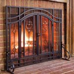 Plow & Hearth Floral Small Fireplace Screen with Doors, Tempered Glass, Metal Mesh, Tubular Steel Frame