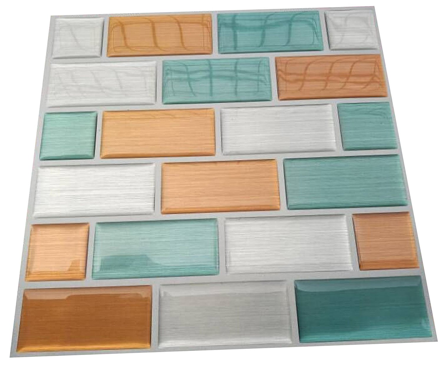Pop Resin 2017 New Design Waterproof Imitation Metal Wire Drawing Effect Wall tile for Kitchen Decoration, Pack of 4