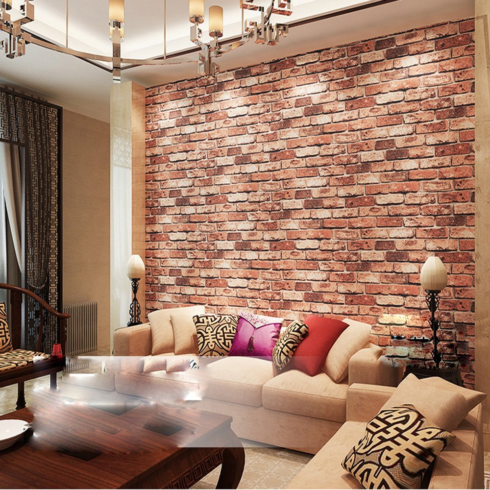 QIHANG Red Brick Wall Modern Wallpaper Textured Bricks PVC Wallpaper 0.53m*10m=5.3㎡