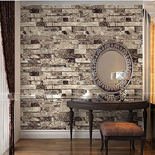 QIHANG Three-dimensional Wallpaper Brick Wall Wallpaper 3D Textured Bricks Gray Color