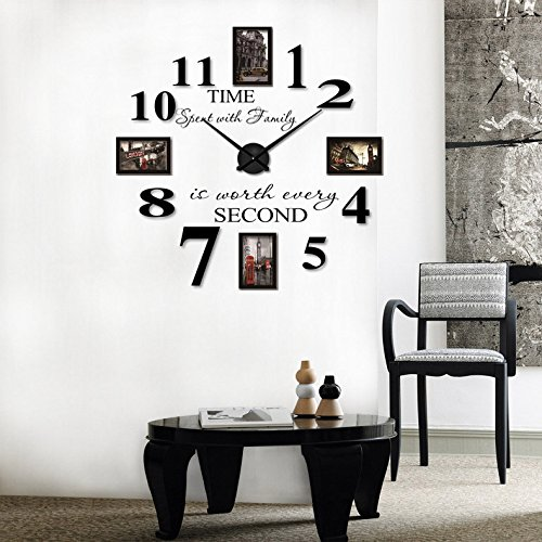Reliable_E Inspirational Quotes Wall Sticker Photo Frame DIY 3D Wall Clock for Home Decor (black)
