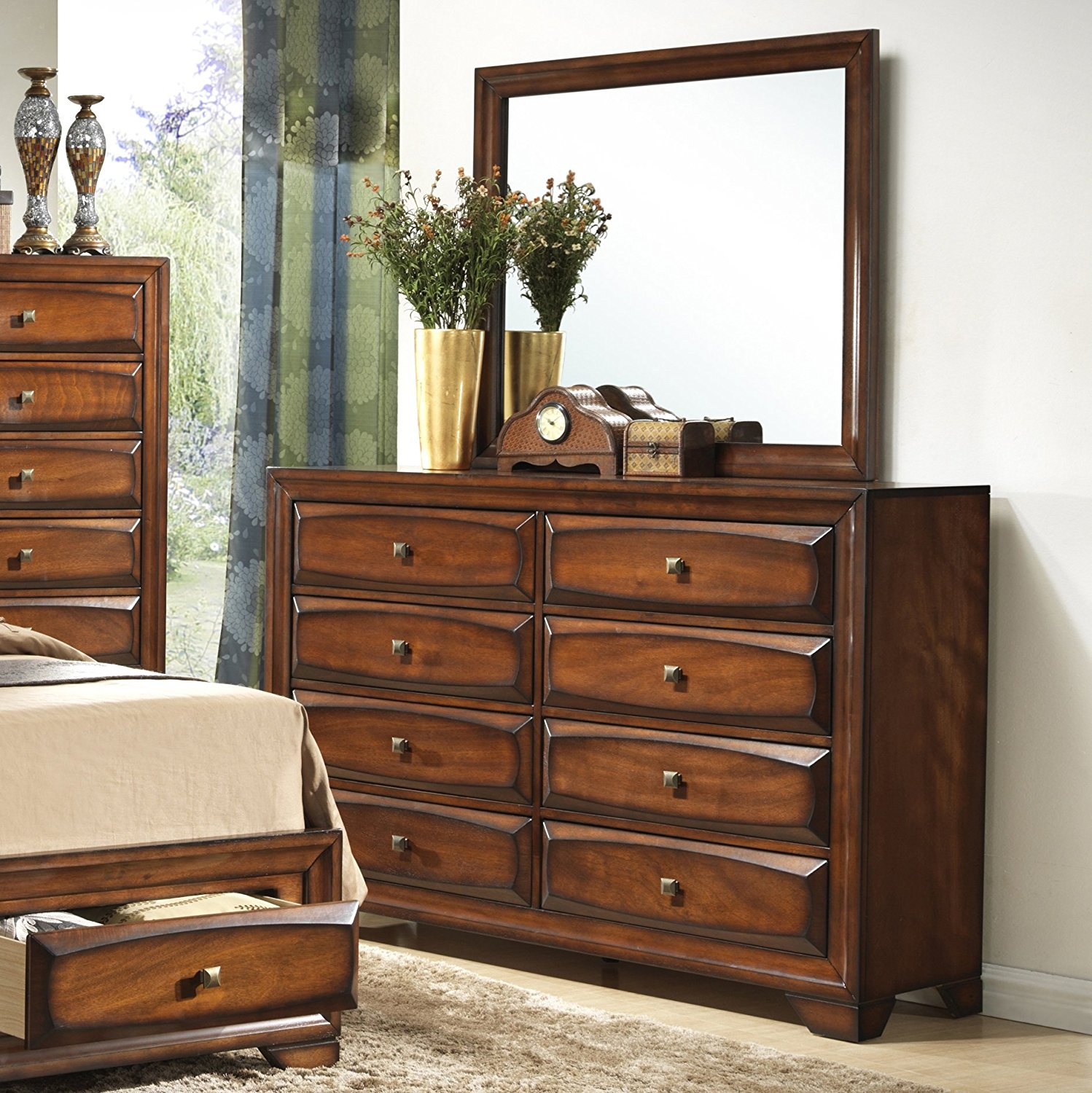 Roundhill Furniture Oakland 139 Antique Oak Finish Wood 6 Drawers Dresser & Mirror