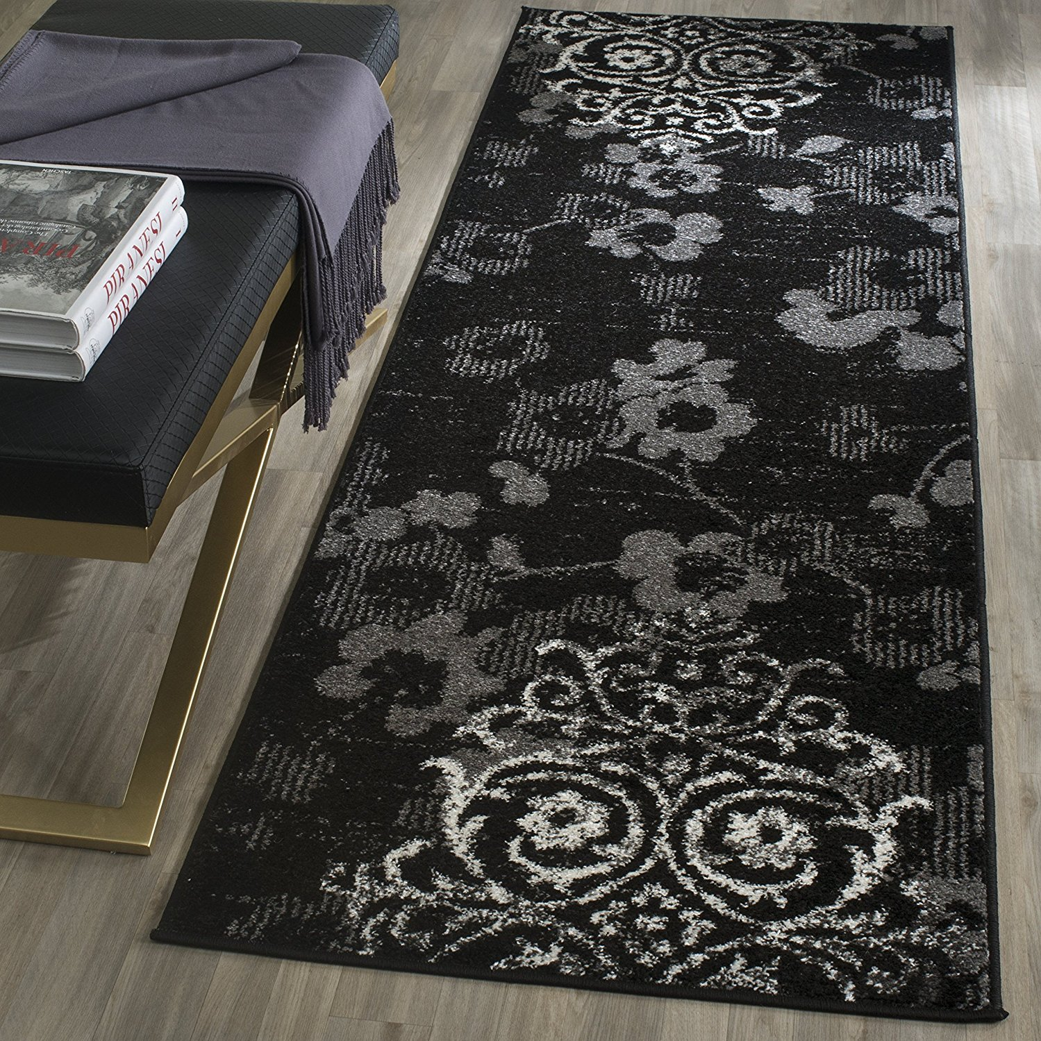 "Safavieh Adirondack Collection ADR114A Black and Silver Oriental Vintage Runner (2'6"" x 10')"