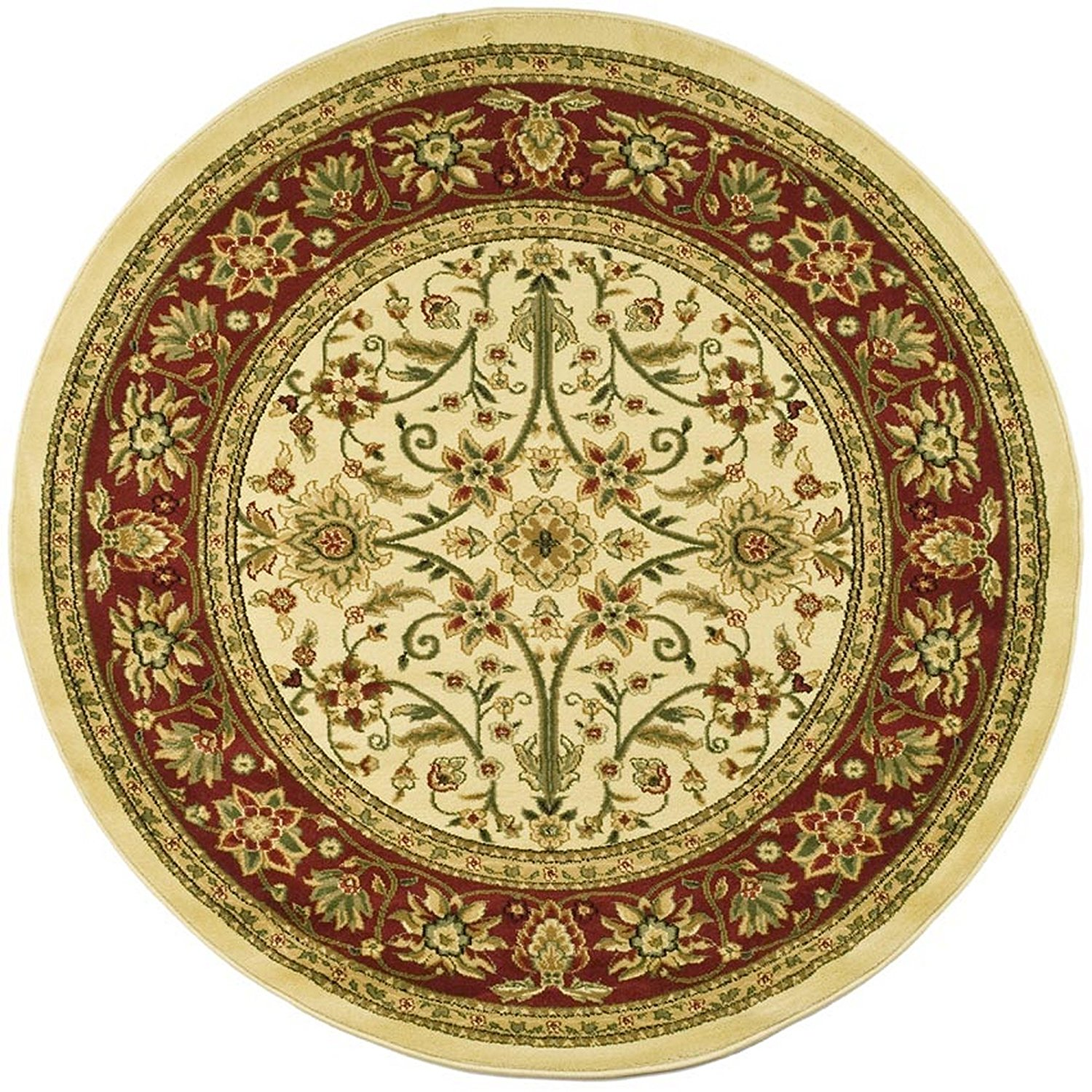 "Safavieh Lyndhurst Collection LNH212K Traditional Oriental Ivory and Red Round Area Rug (5'3"" Diameter)"
