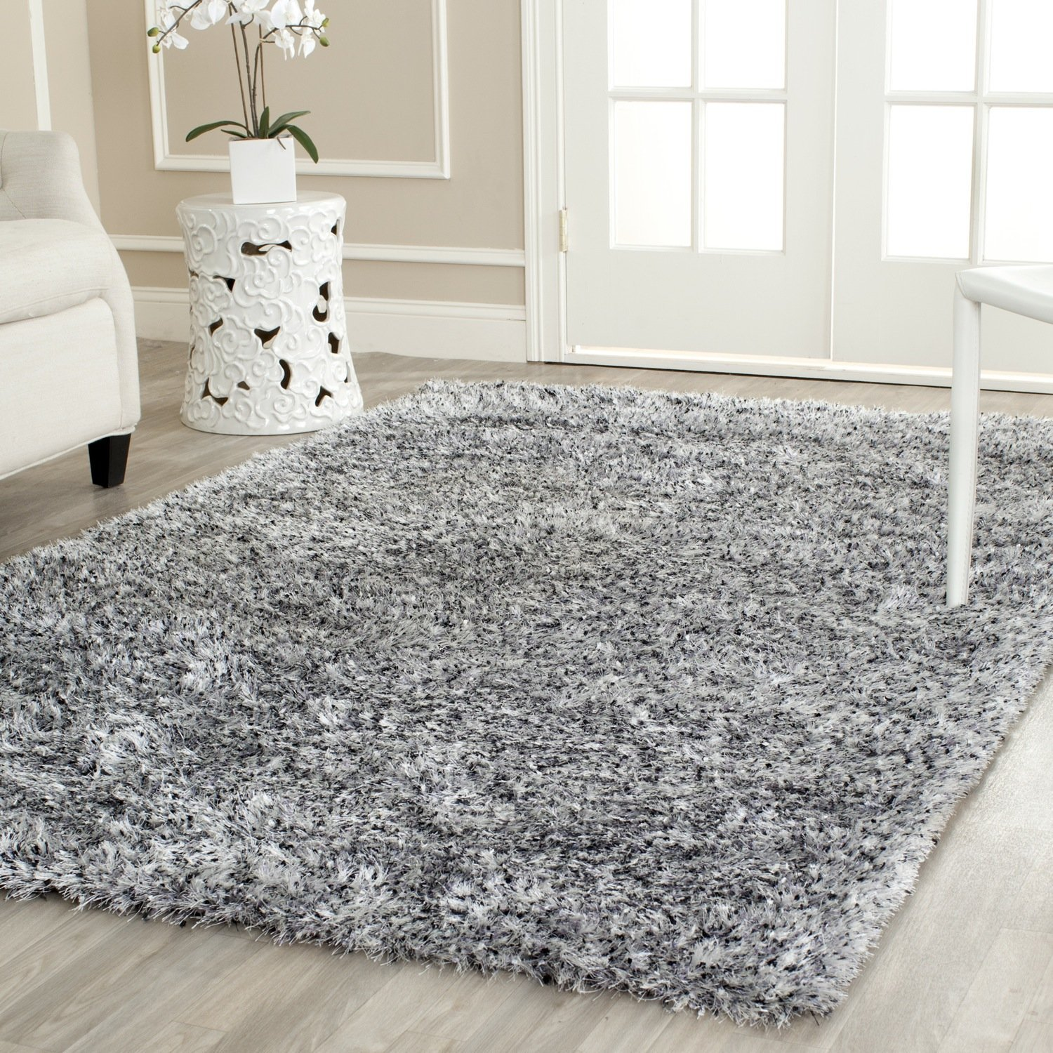 "Safavieh Malibu Shag Collection MLS431S Handmade Silver Polyester Area Rug (3'6"" x 5'6"")"
