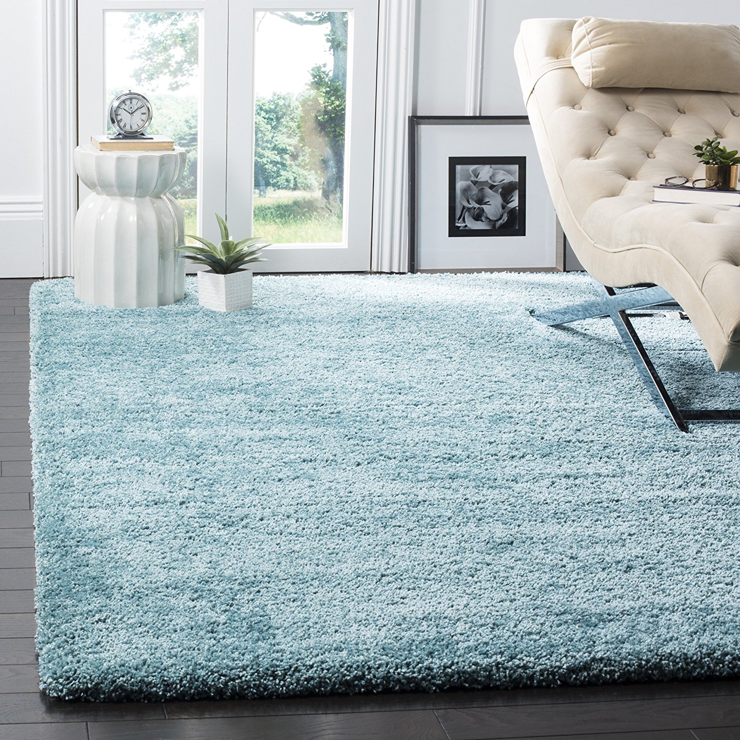 Safavieh Milan Shag Collection SG180-6060 Aqua Blue Area Rug (6' x 9')