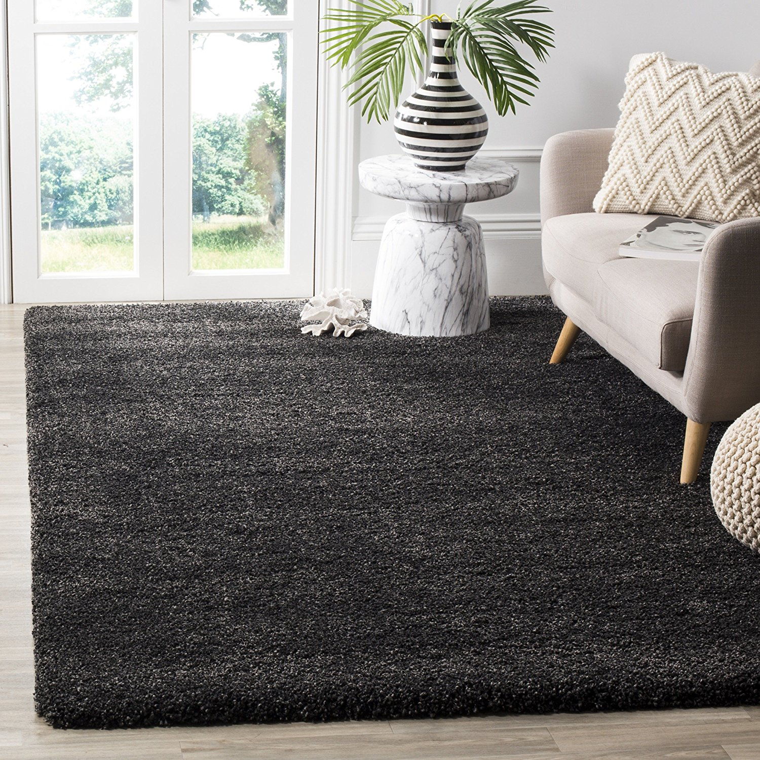 Safavieh Milan Shag Collection SG180-8484 Dark Grey Square Area Rug (10' Square)