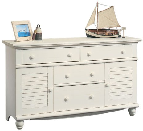 Sauder Harbor View Dresser Antiqued, White