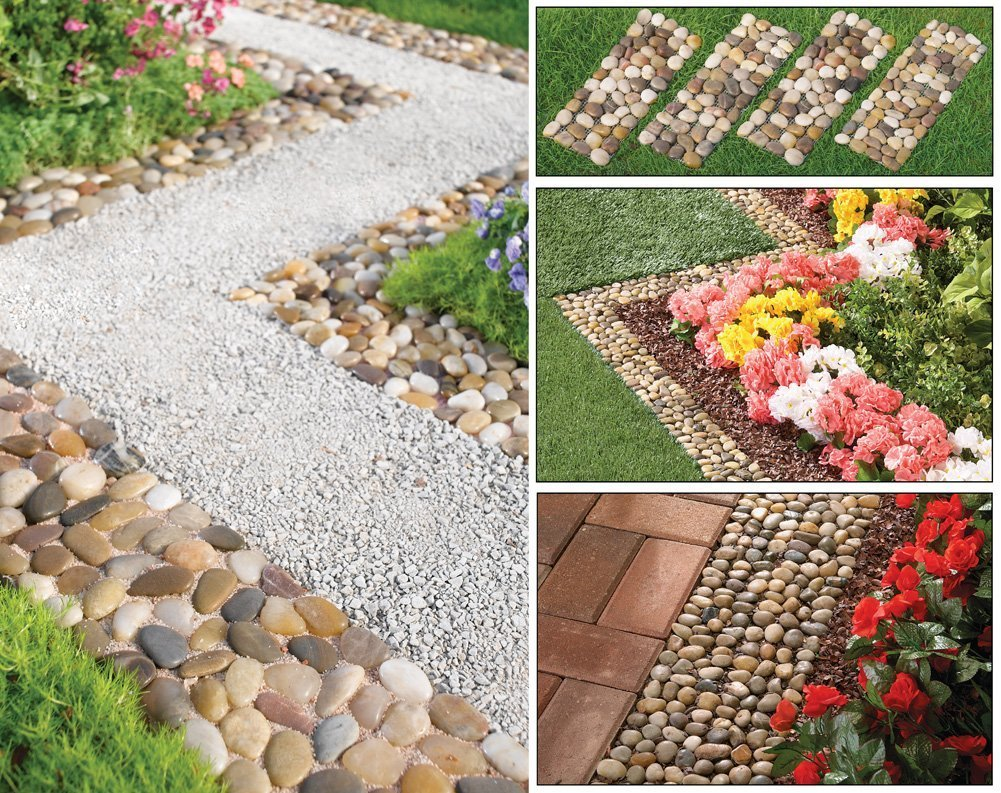 Set of 4 Stone Pebble Garden Path Mats Outdoor Pathway Trail Flowerbed Walkway Edging Border Mat (Natural Stone)