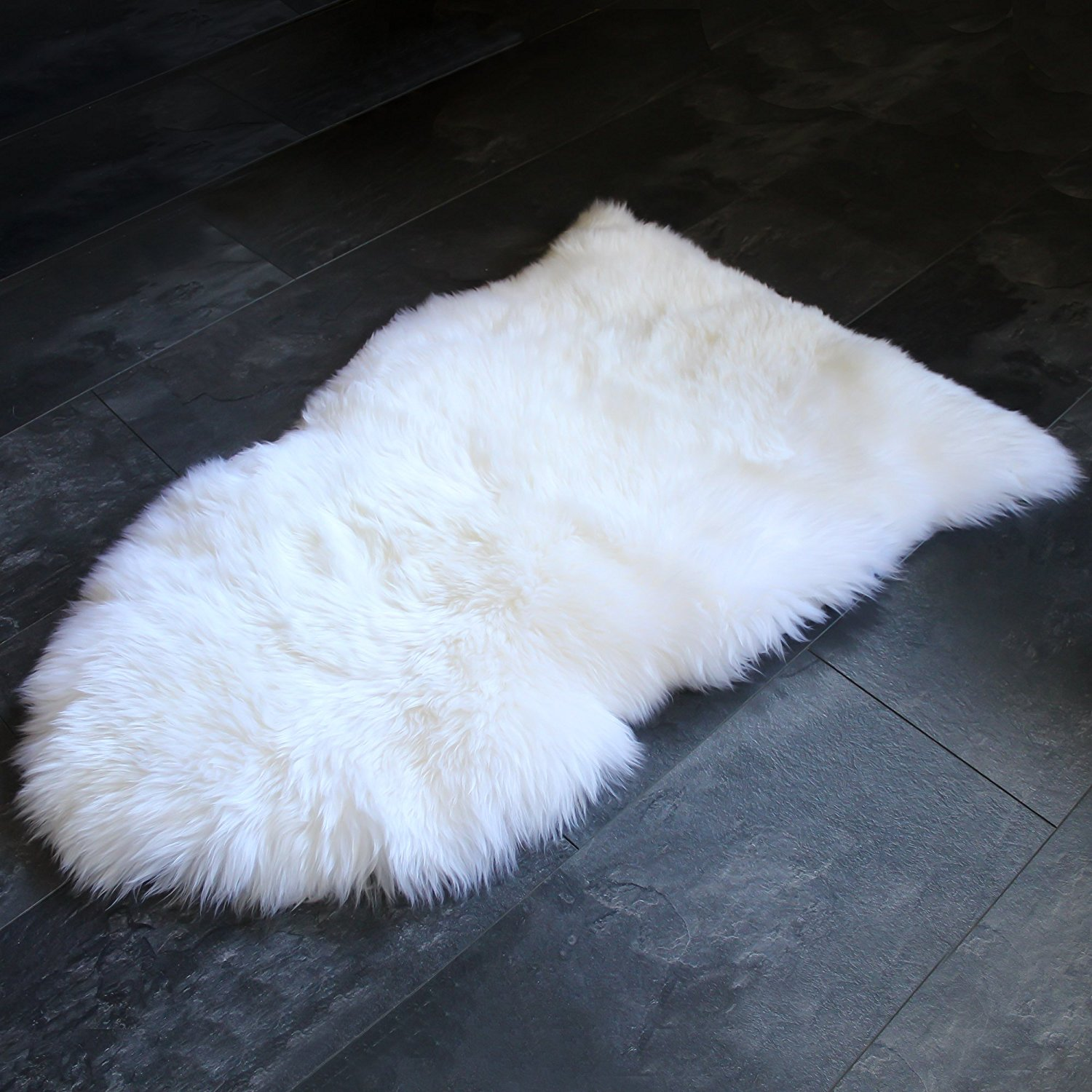 Sheepskin Rug Genuine Soft Natural Merino + Care & Cleaning Guide (2ft x 3ft White/Ivory)