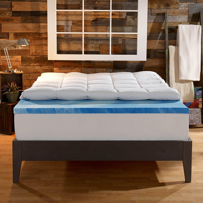 Sleep Innovations 4-Inch Dual Layer Mattress Topper - Gel Memory Foam and Plush Fiber. 10-year limited warranty. Full Size