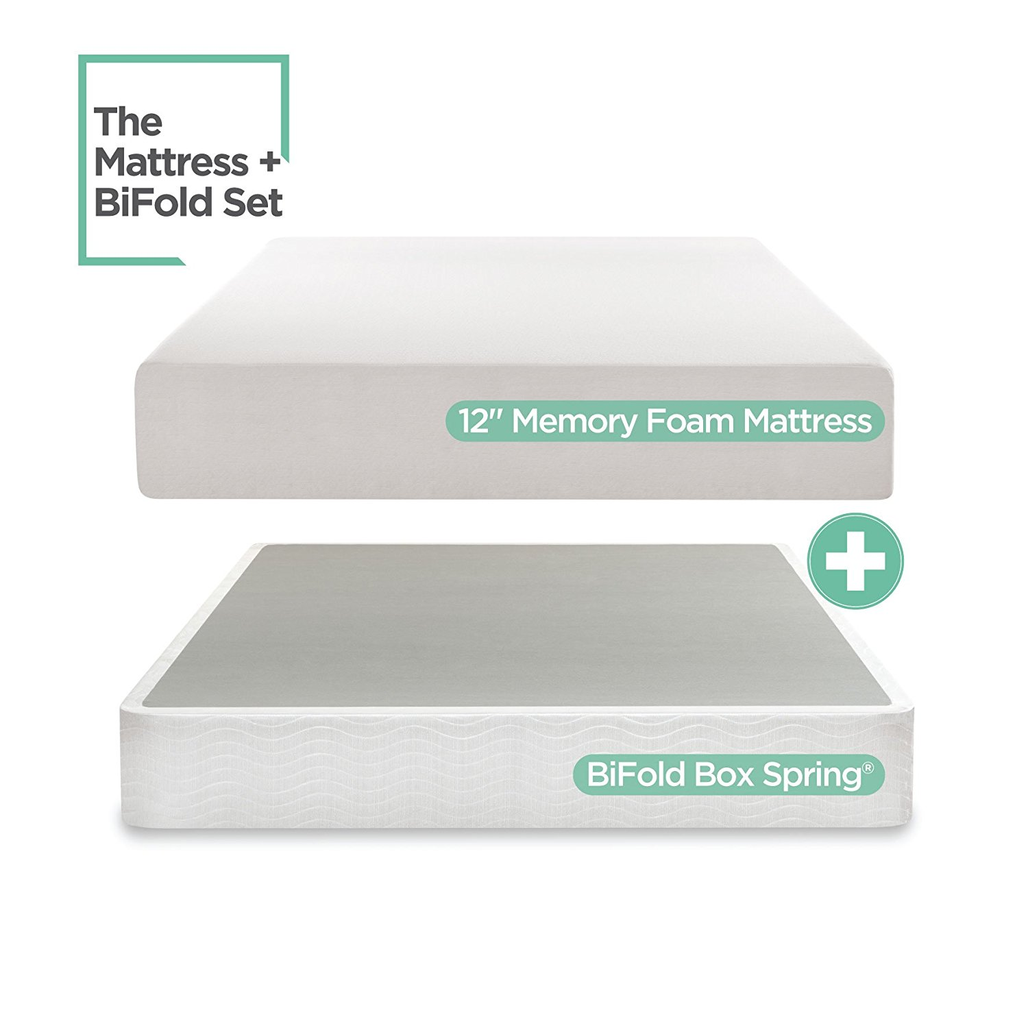 Sleep Master 12-Inch Memory Foam Mattress Set with Bi-Fold Boxspring, Full