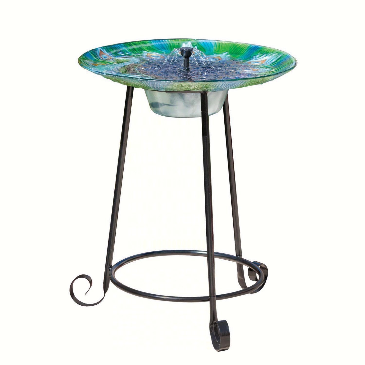 Smart Solar 20221R01 Argus Peacock Glass Solar Birdbath With Patented Underwater Integral Solar Panel and Pump System