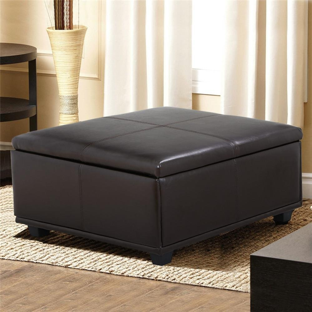 Topeakmart Large Faux Leather Ottoman Storage Coffee Table Lift Up Top Bench Solid Wood Legs , Espresso