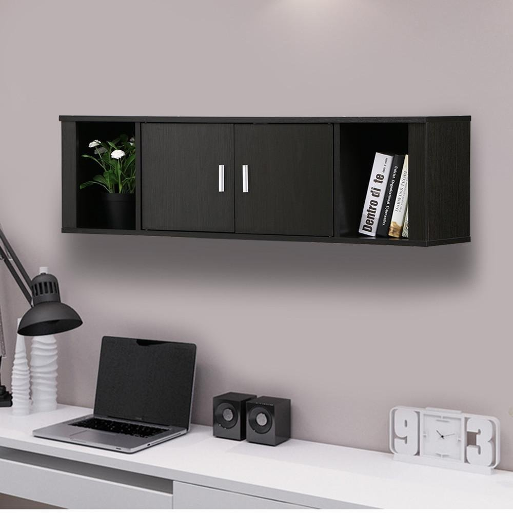 Topeakmart Wall Mounted Floating Media Storage Cabinet Hanging Desk Hutch 2 Door & Compartment Home Office Furniture ( Black )
