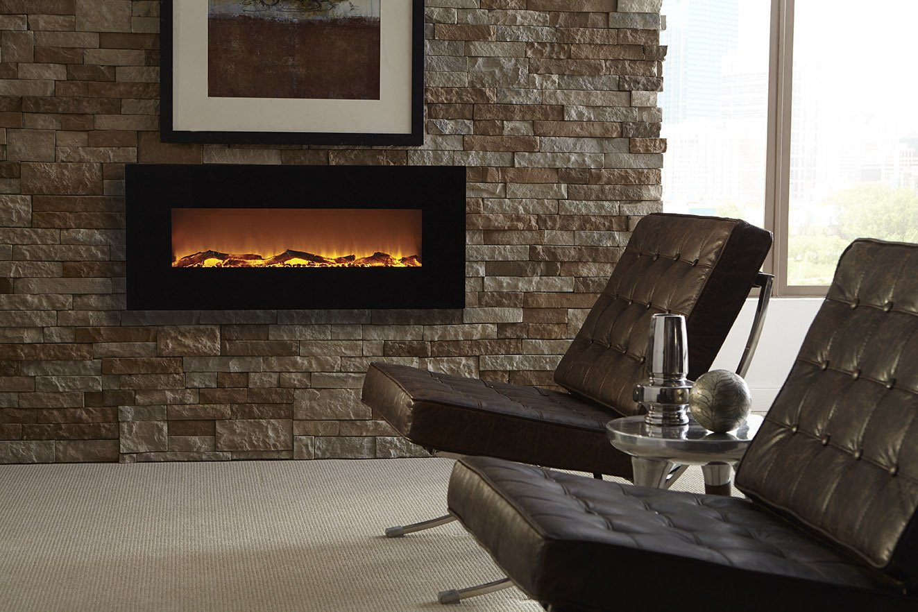 Touchstone 80001 Onyx Wall Mounted Electric Fireplace, 50 Inch Wide, Logset & Crystal, 1500W Heat (Black)