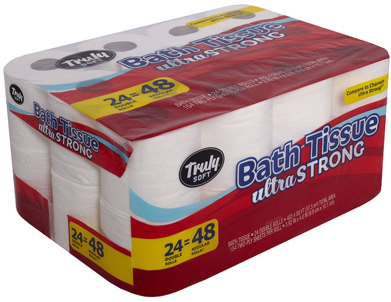 Truly Soft Toilet Paper Ultra Strong Bath Tissue, 24 Double Rolls = 48 Regular Rolls, White