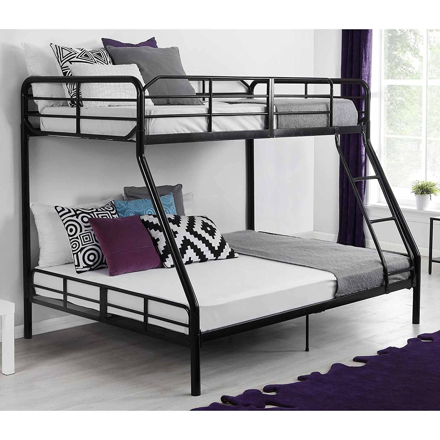 Twin Over Full Bunk Bed Kids Teens Bedroom Dorm Furniture Metal Beds Bunkbeds with Ladder Black by Mainstays