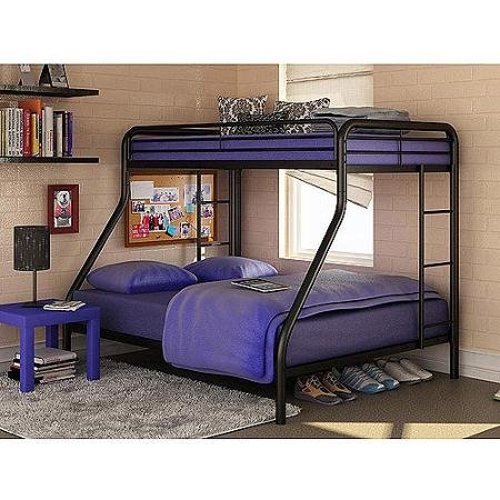 Twin Over Full Bunk Bed Metal Dorel Multiple Colors Space-Saving Design Durable Steel Frame Construction (Black)
