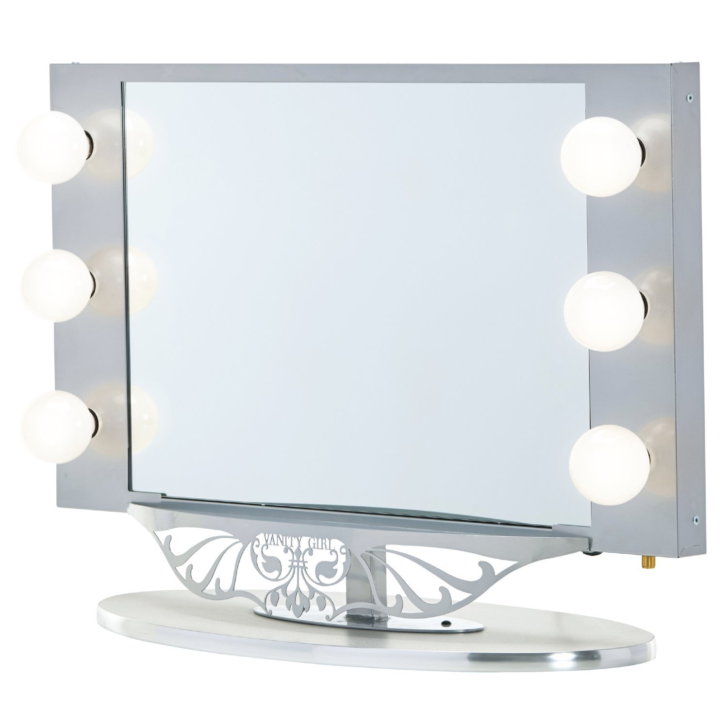 "Vanity Girl Hollywood Starlet Lighted Vanity Mirror Gloss White, 34"" x 23"""