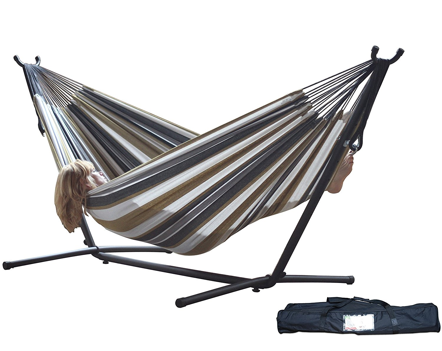 Vivere Double Hammock with Space Saving Steel Stand, Desert Moon