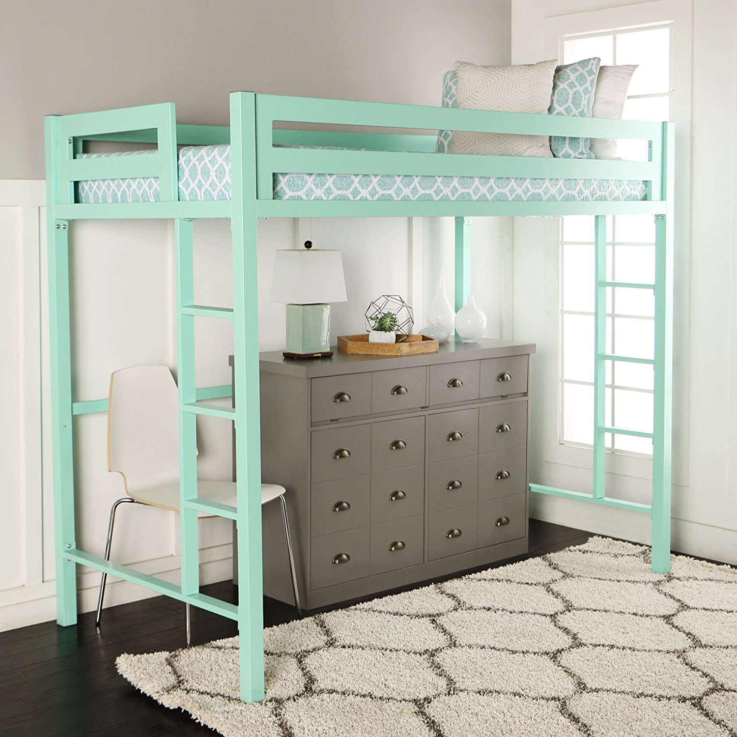 WE Furniture Premium Twin Metal Loft Bed, Mint