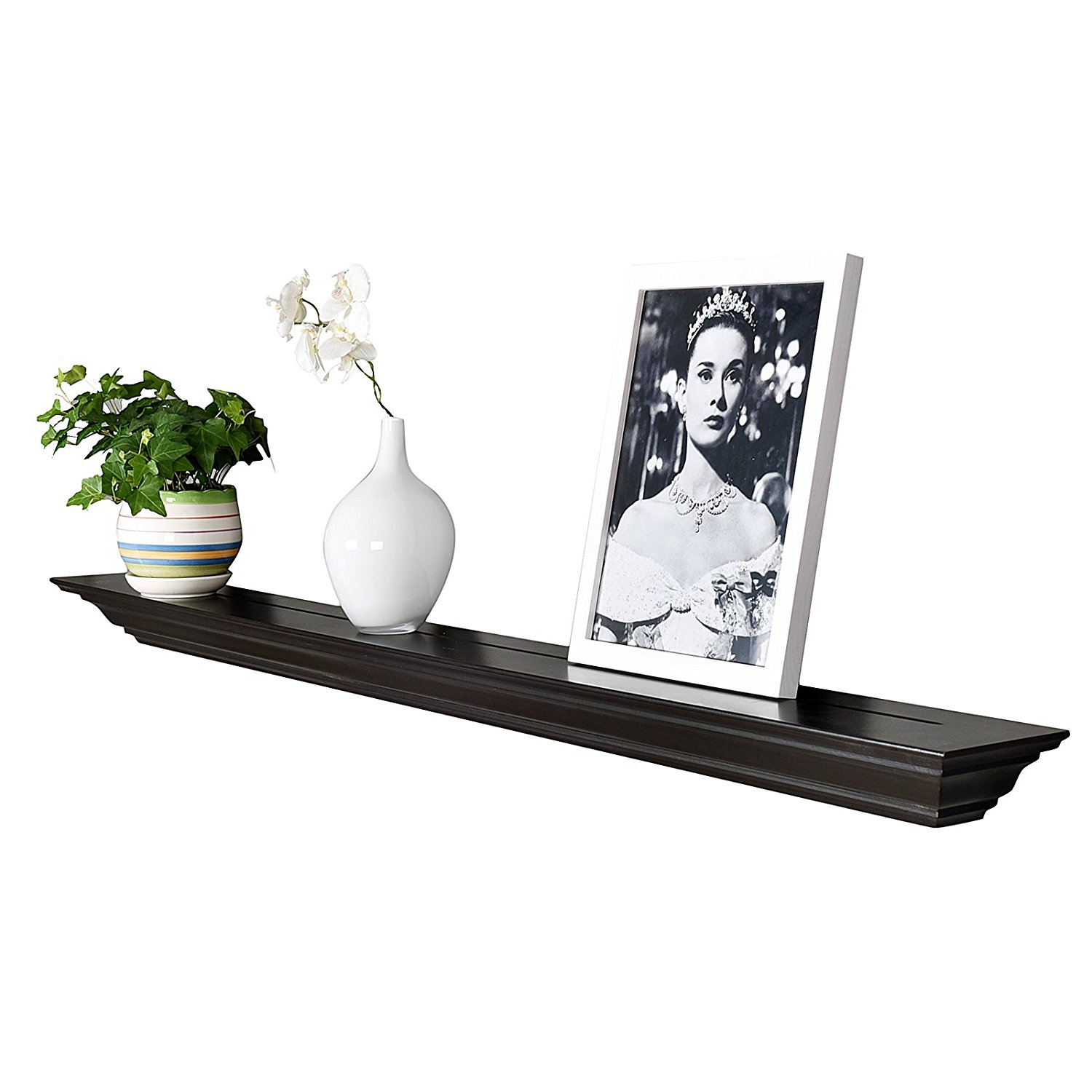 "WELLAND 60"" Espresso Fireplace Mantel Shelf with Crown Molding Lines(Picture Ledge)"