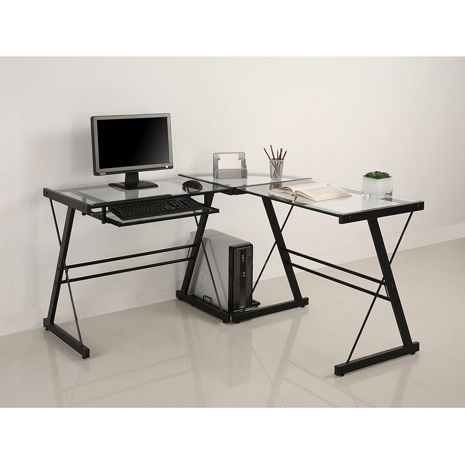 Walker Edison 3-Piece Contemporary Desk, Multi