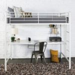 Walker Edison Twin Metal Loft Bed with Workstation, White