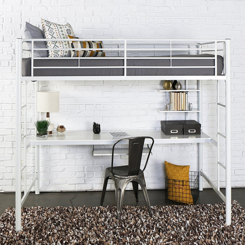 Walker Edison Twin Metal Loft Bed with Workstation, White