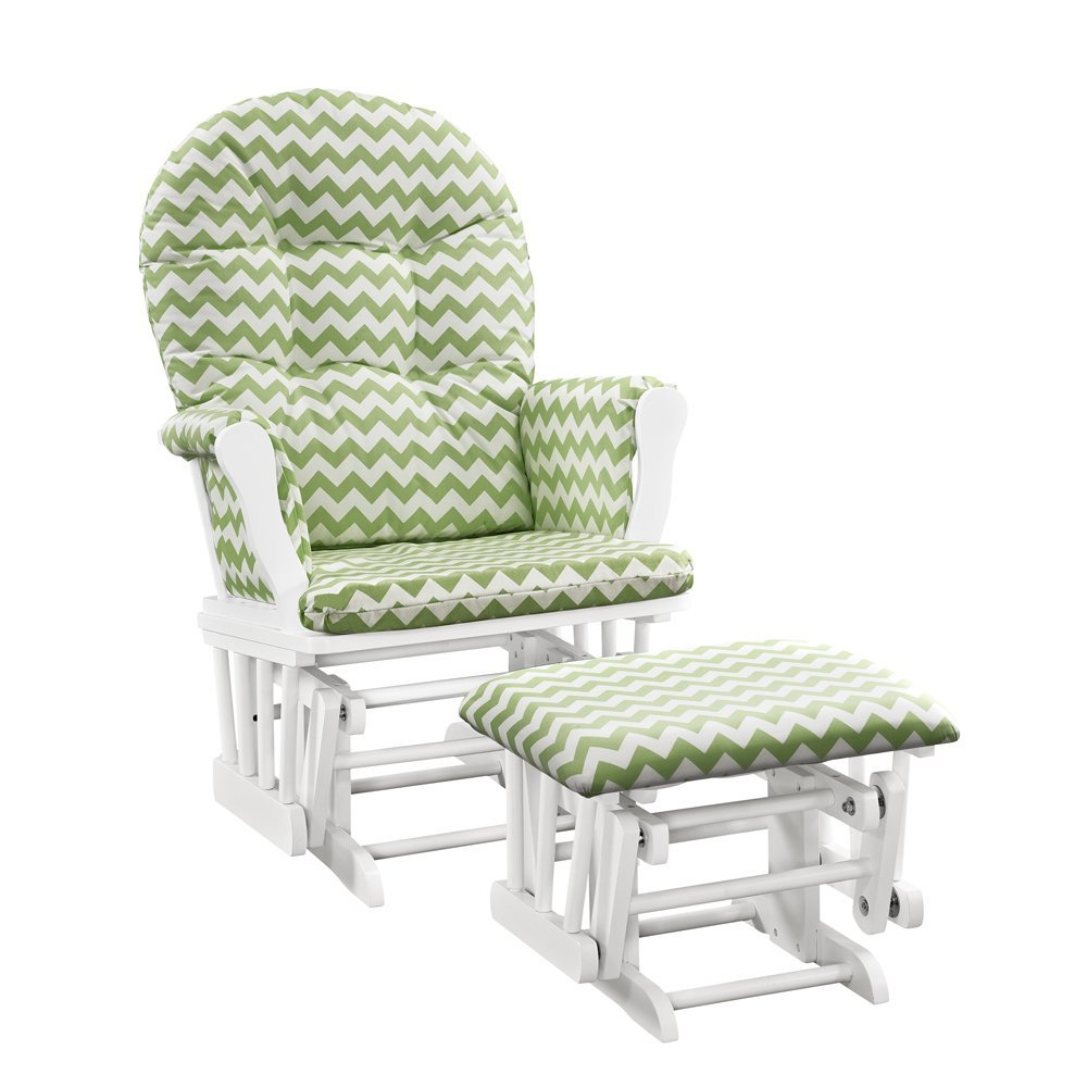Windsor Glider and ottoman-white w/ green chevron cushion