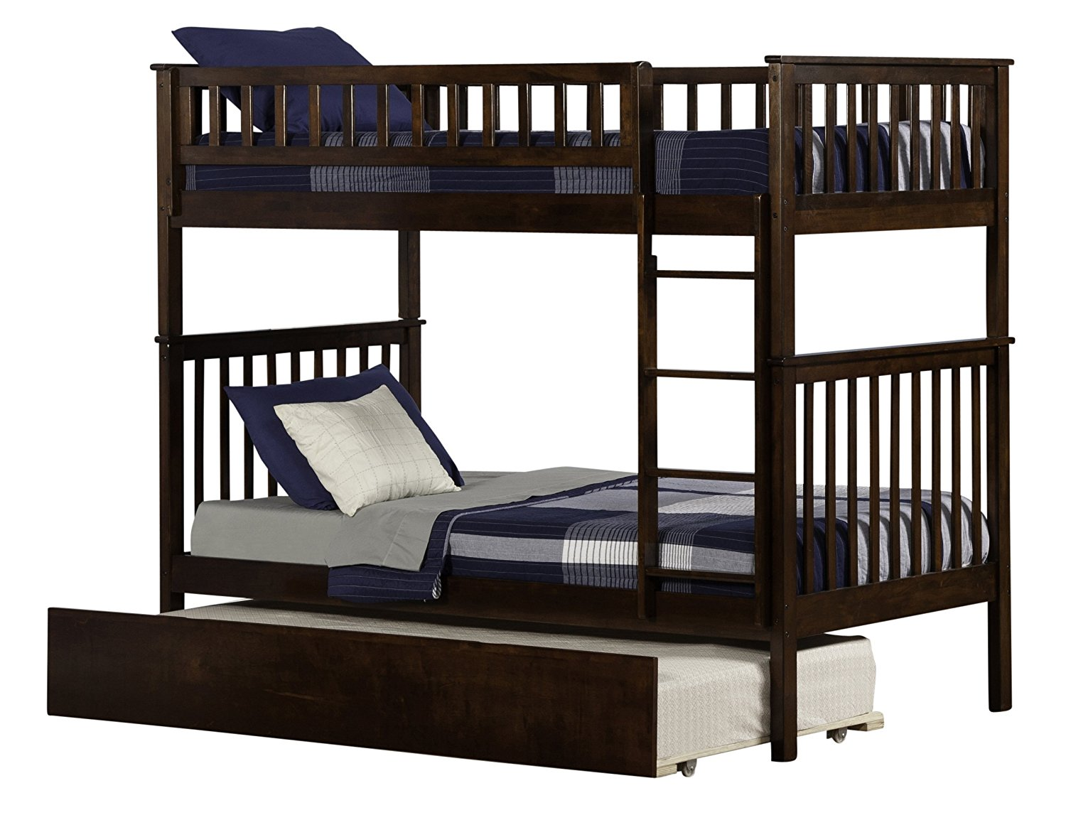 Woodland Bunk Bed with Urban Trundle, Antique Walnut, Twin Over Twin