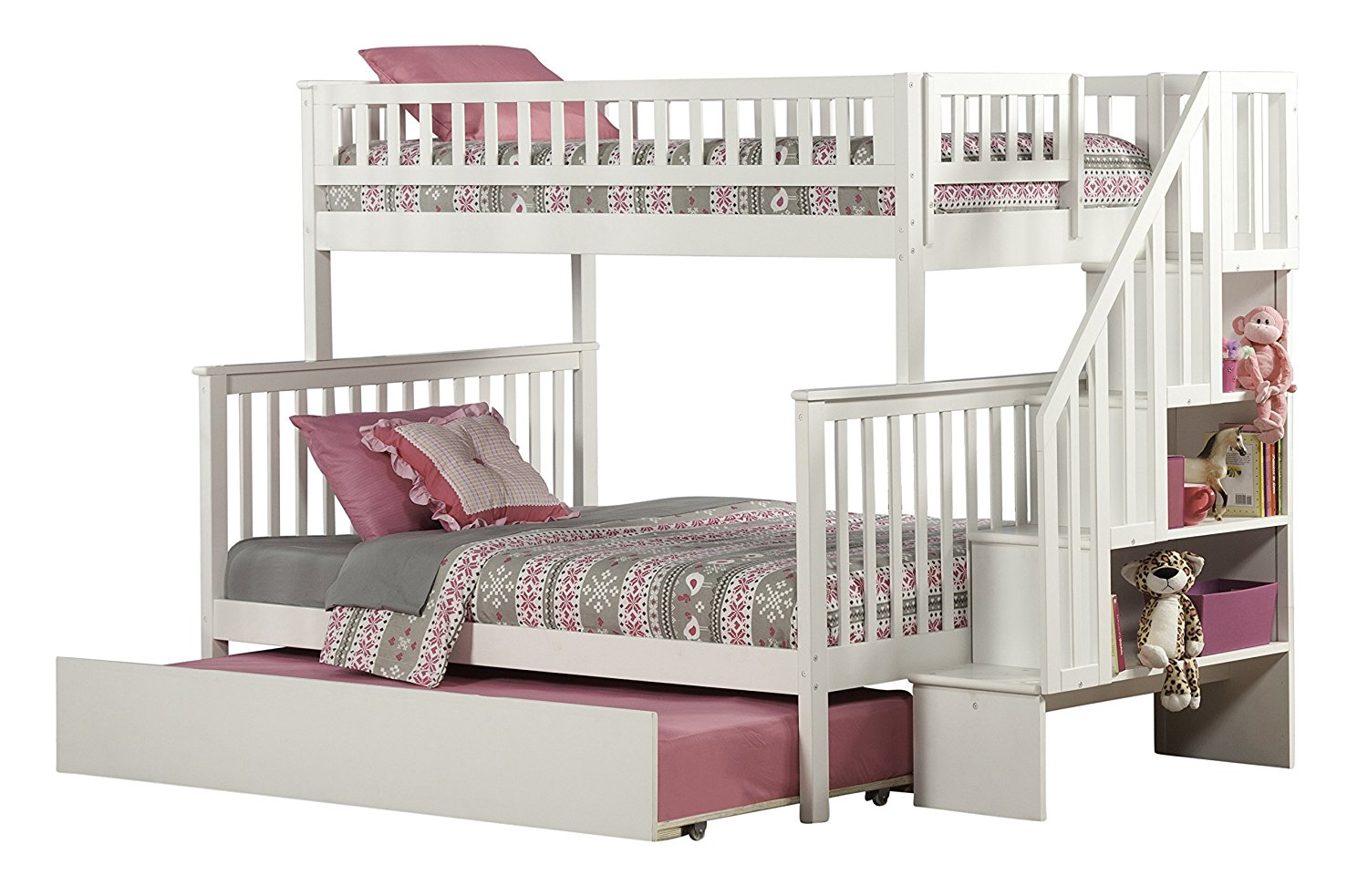 Woodland Staircase Bunk Bed with Urban Trundle, White, Twin Over Full