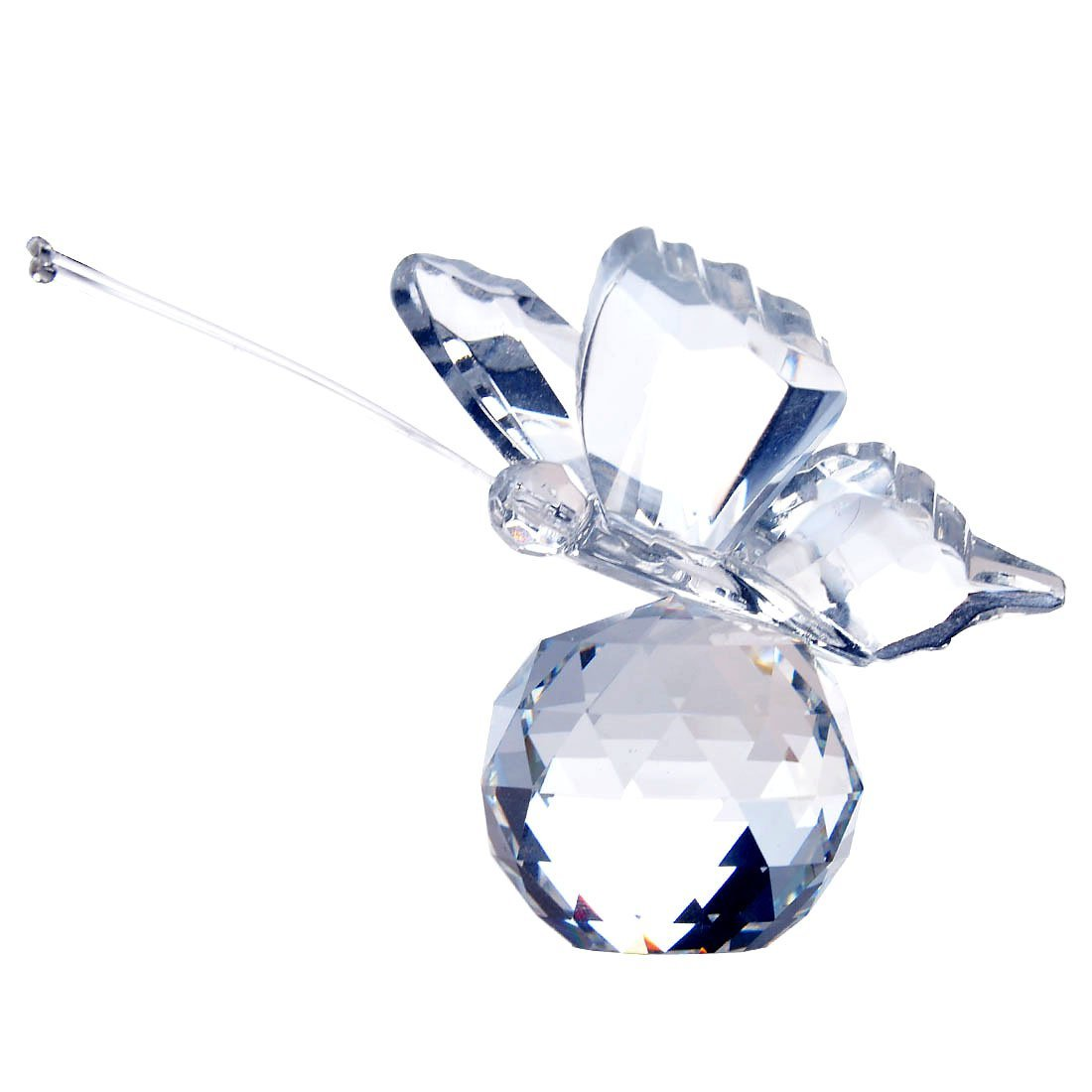 YUFENG Cute Crystal Flying Butterfly with Crystal Ball Base Figurine Collection Cut Glass Ornament Statue Animal Collectible (clear)