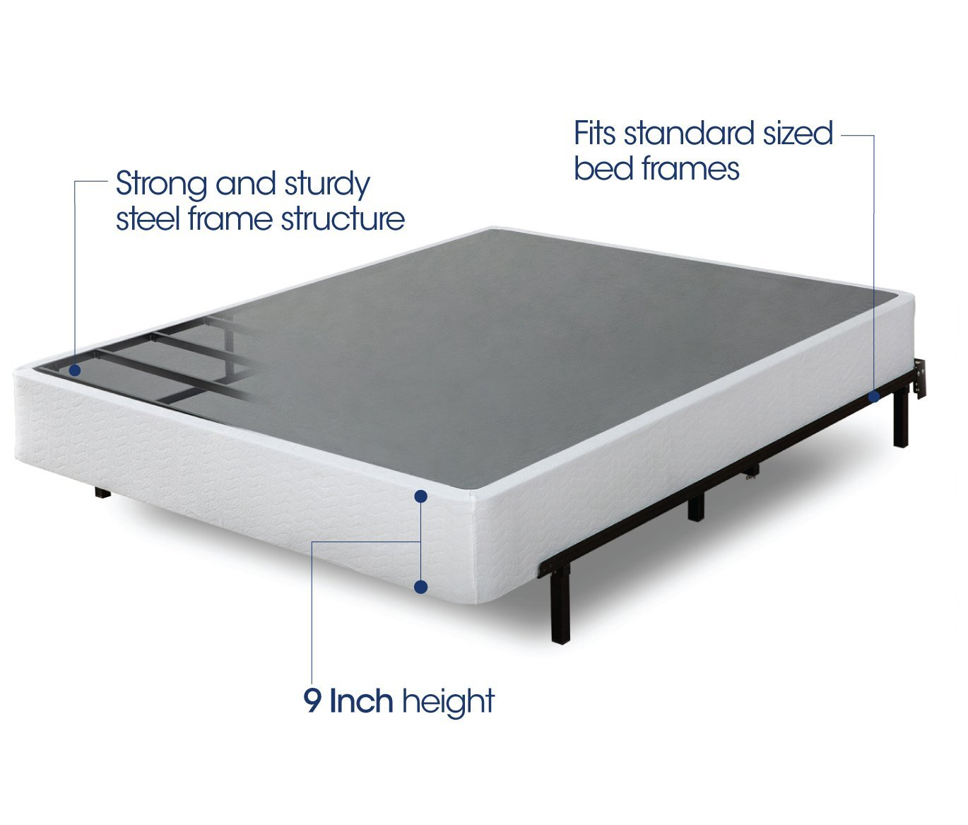 Zinus 9 Inch High Profile Smart Box Spring / Mattress Foundation / Strong Steel structure / Easy assembly required, King