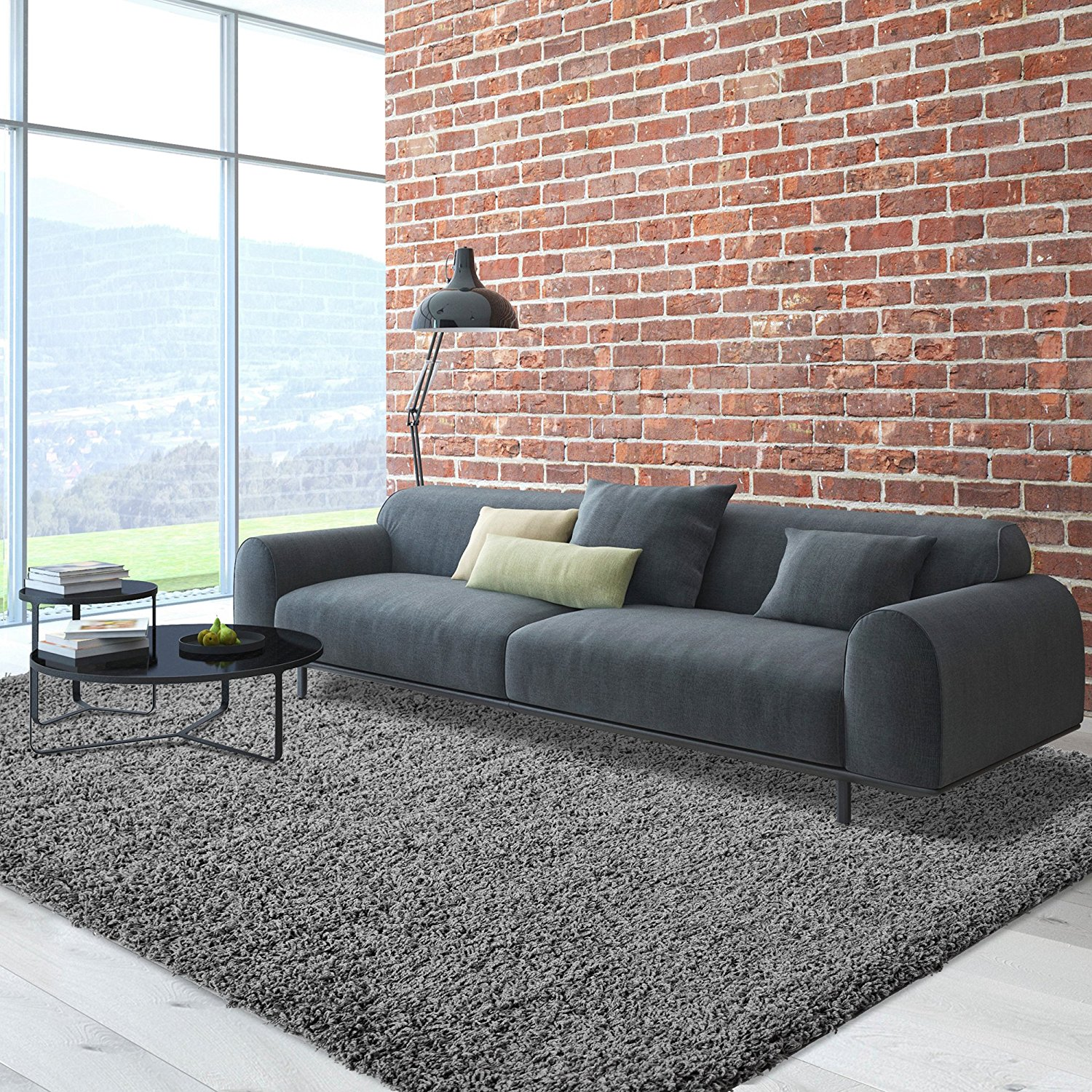 iCustomRug Cozy Soft And Plush Pile, 5ft0in x 7ft0in ( 5X7 ) Shag Area Rug In Charcoal / Dark Grey