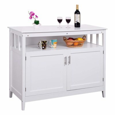 Costzon Kitchen Storage Sideboard Dining Buffet Server Cabinet Cupboard with Shelf (White)