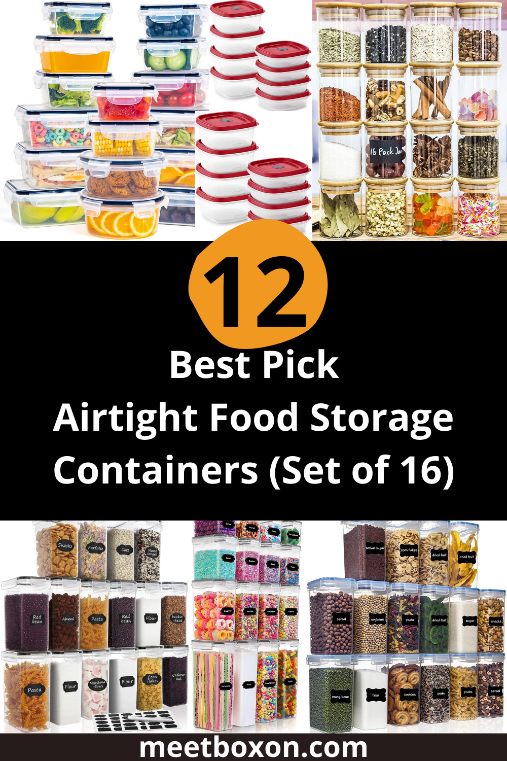12 best pick airtight food storage containers (Set of 16)