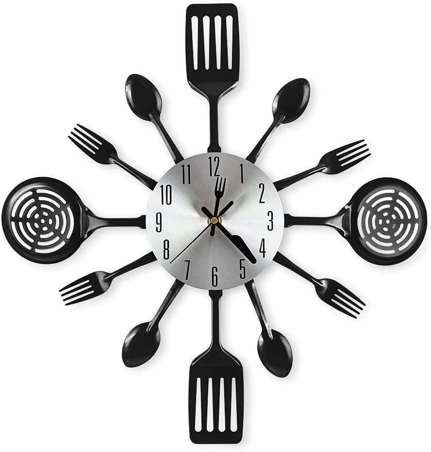 CIGERA Spoons and Forks Large Kitchen Wall Clocks (16 Inch, Black)