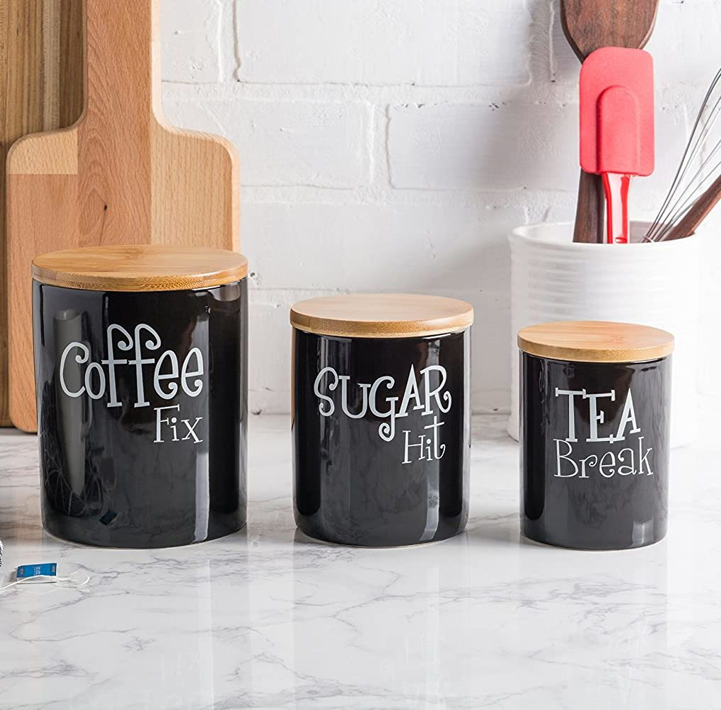 DII Collection Ceramics Canister Set Kitchen Accessories (Black)