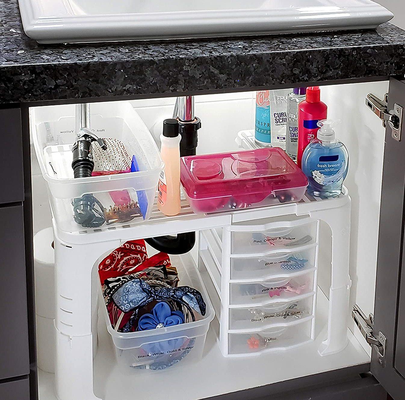 . Expandable Under Sink Storage Organizer (White)