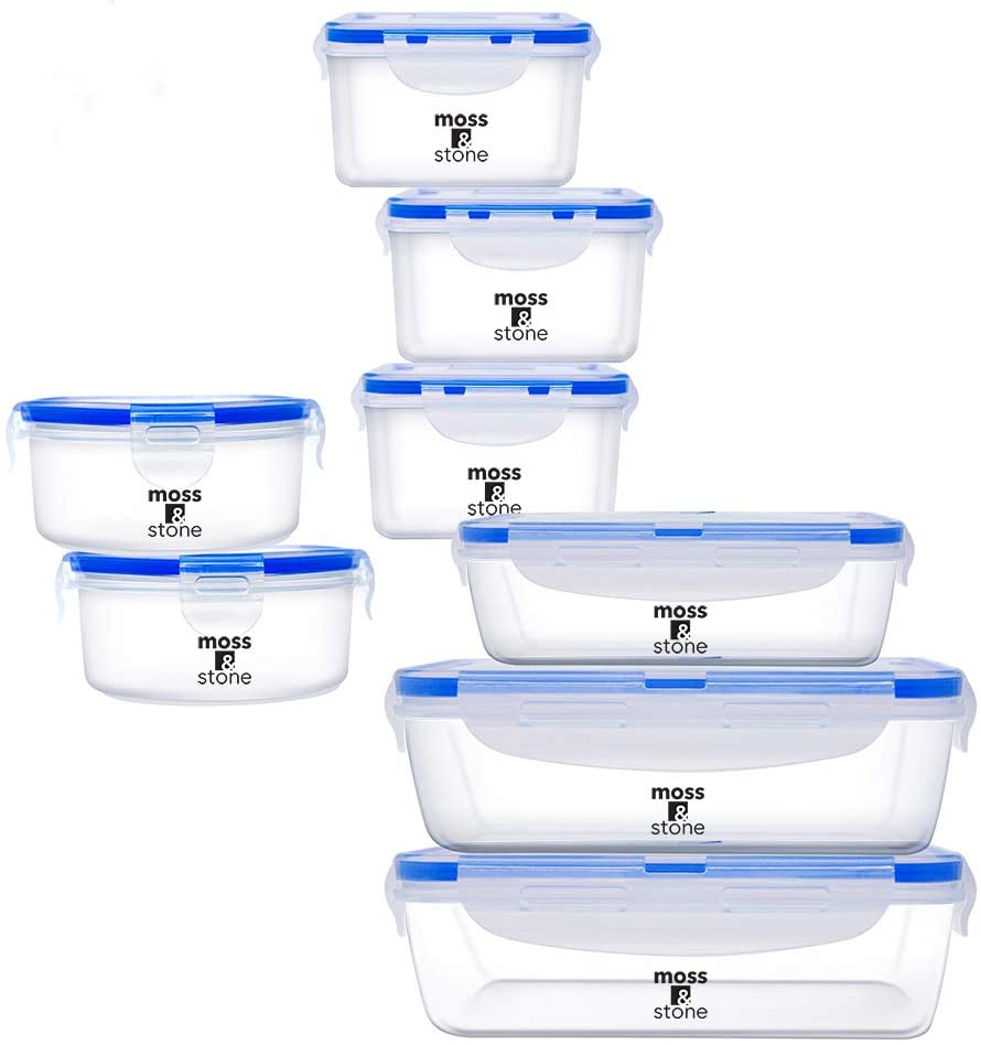 Moss & Stone 16 Piece Safe Lunch Box Set For DIshwasher and Microwave Containers with Lids