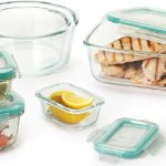 OXO Good Grips - 16 Piece Smart Seal Leakproof Glass Food Storage Container Set (Clear, Blue)