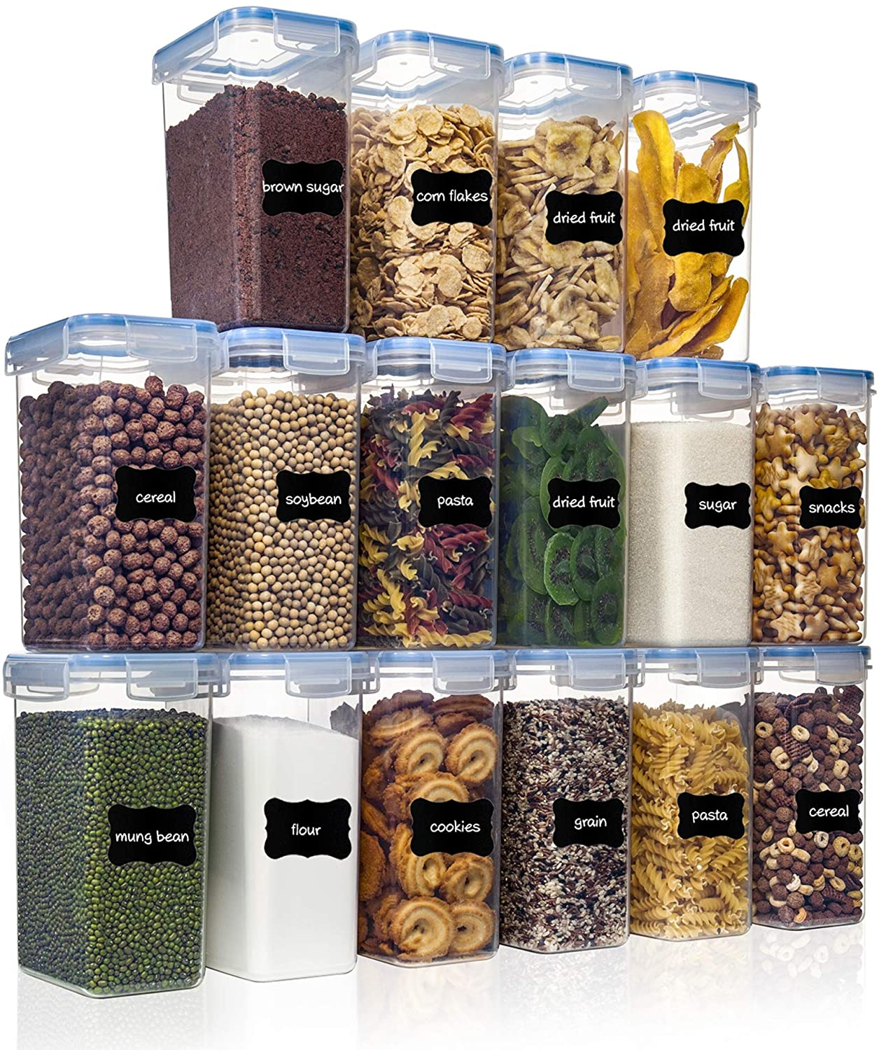 PantryStar Air Tight Flour Sugar and Cereal Containers (2L/1.8qt)