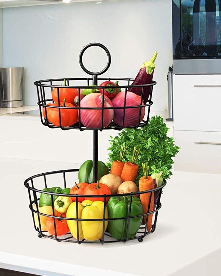 STEELGEAR 2 Tier Detachable Fruit Vegetable Bowl Organizer (Black)